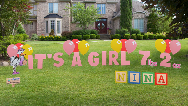 Its a Girl Yard Greeting – Baby Announcement Lawn Signs