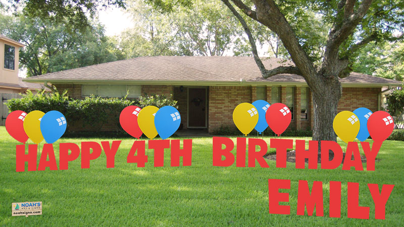 Noah39s art signs it39s a boy and it39s a girl yard signs for Happy birthday yard letters